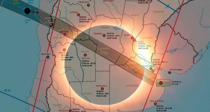 Eclipse: Se hará de noche en pleno día en una franja que atraviesa 6 provincias