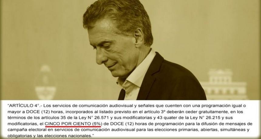 Por decreto, Macri redujo a la mitad el espacio publicitario gratuito a los partidos políticos