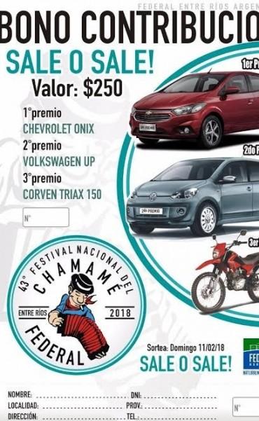 Festival 2018 : 2 autos 0 km y 1 moto son los premios del Bono Contribución