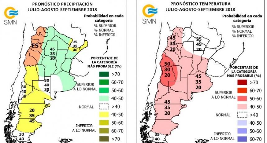 Pronostican lluvias y temperaturas superiores a lo normal hasta septiembre