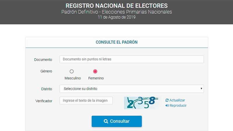 Se puede consultar en el padrón la escuela y mesa de votación para las PASO