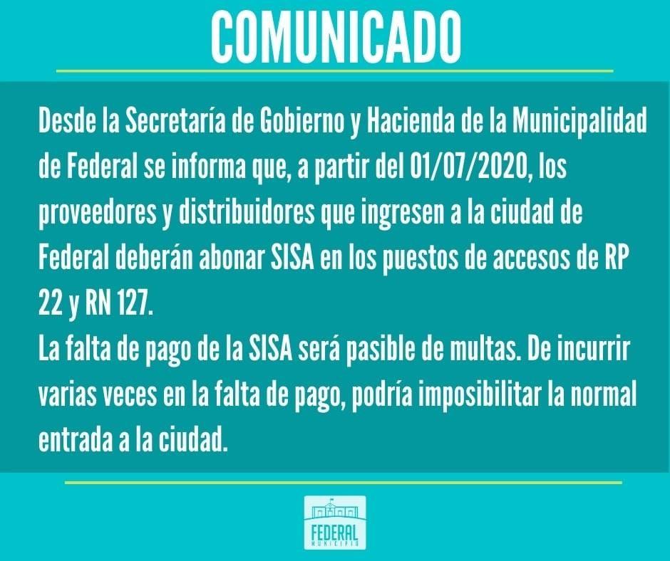 Disposición Municipal para proveedores y distribuidores que ingresen a Federal