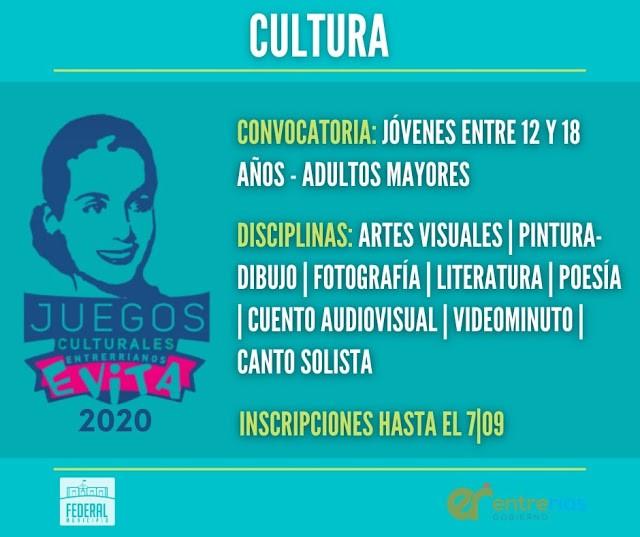 Abiertas las inscripciones para la décimo quinta edición de los Juegos Culturales Entrerrianos Evita 2020.