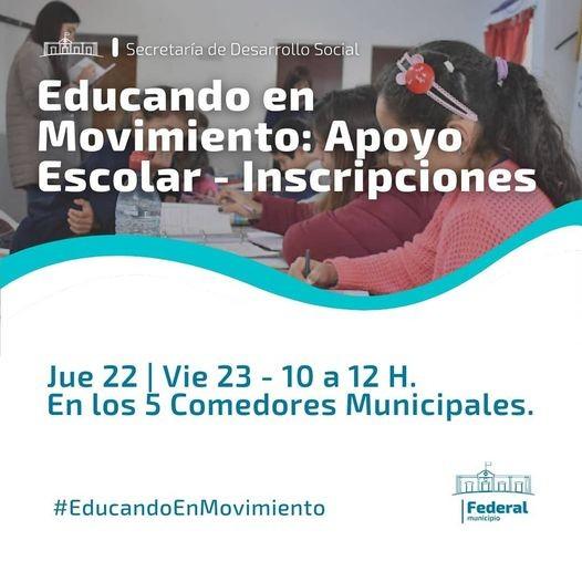 Federal : Abren las inscripciones para el Educando En Movimiento.