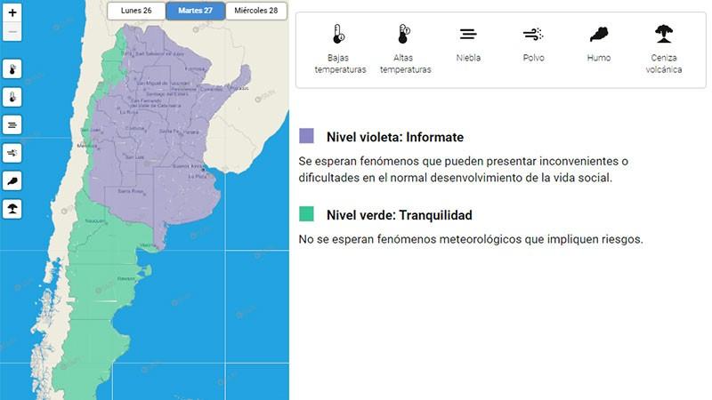 Ola polar: emitieron advertencia violeta por bajas temperaturas