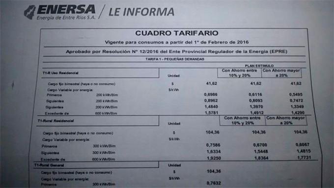 Enersa distribuye sus facturas con el nuevo cuadro tarifario
