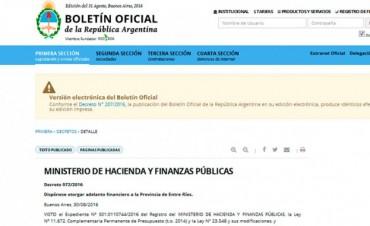 Entre Ríos recibió un nuevo adelanto financiero de la Nación por $ 300 millones
