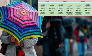 Pronostican tres días seguidos con lluvias