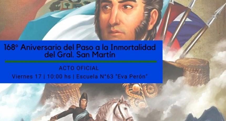 ACTO OFICIAL POR EL 168º ANIVERSARIO DEL PASO A LA INMORTALIDAD DEL GRAL. JOSÉ DE SAN MARTÍN