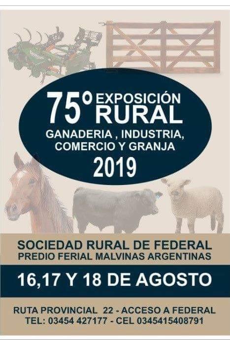 Este es el programa oficial de la Expo Rural de Federal