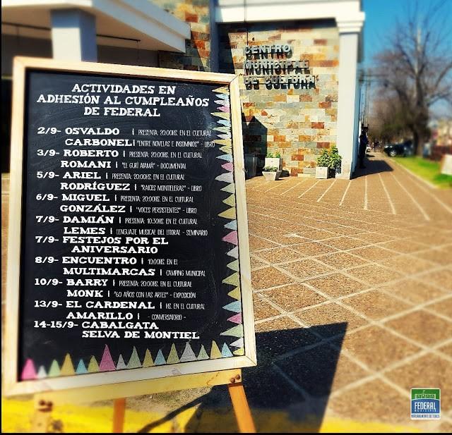Cronograma de actividades por el 139 aniversario de la Ciudad de Federal