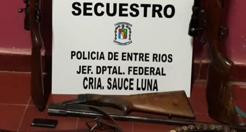 Secuestran armas en Sauce de Luna