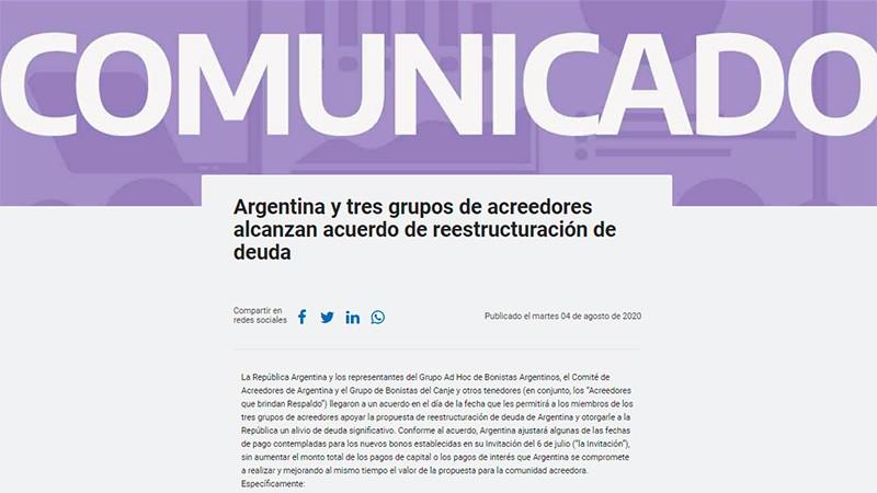 Oficializaron el acuerdo de reestructuración de la deuda: El comunicado