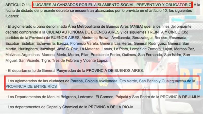 Decretaron el aislamiento en Paraná, su área metropolitana y Gualeguaychú