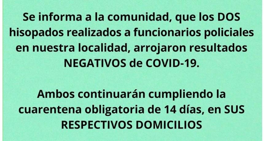 Hisopados  realizados  funcionarios policiales en C. Bernardi , han arrojado RESULTADO NEGATIVO DE COVID-19