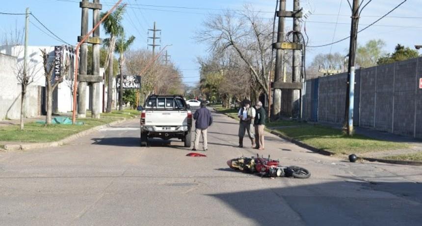 Accidente de transito en calle Mitre y Echague