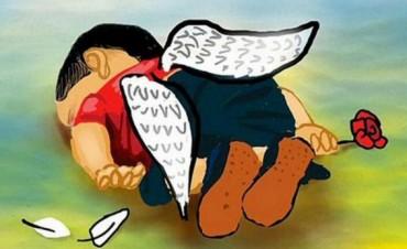 En caricaturas el recuerdo del niño muerto en una playa de Turquía