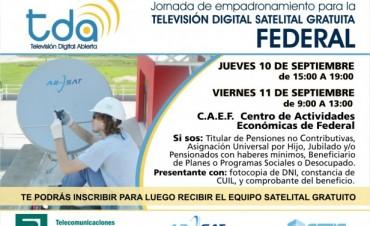 Empadronamiento en Federal para sumarse al servicio de Televisión Digital Satelital, Abierta y Gratuita