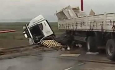 Chofer se durmió, chocó y camión quedó colgado en Puente Zárate Brazo Largo