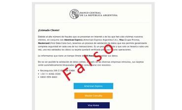 Alertan sobre falsos mails del Banco Central de la Nación