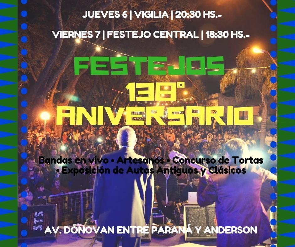 FESTEJOS POR EL 138° ANIVERSARIO DE LA CIUDAD