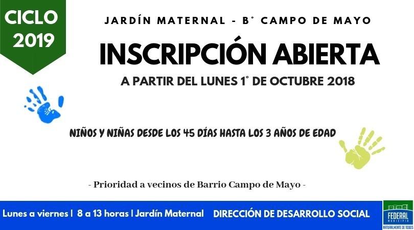EN OCTUBRE SE ABRE LA INSCRIPCIÓN 2019 PARA EL JARDÍN MATERNAL MUNICIPAL A VECINOS DEL BARRIO CAMPO DE MAYO