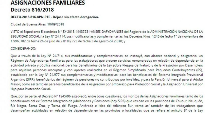 El gobierno dio marcha atrás con el recorte a las asignaciones familiares