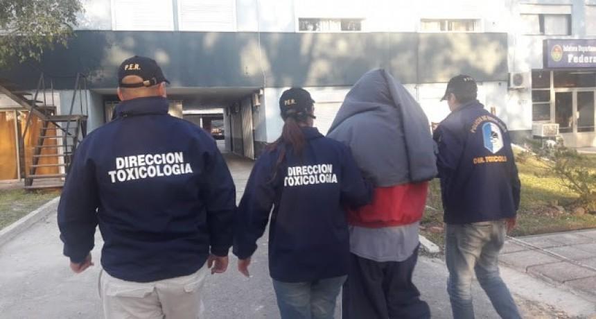 Trasladaron a Concordia a quien fuera detenido en Federal por transportar a 102 dosis de cocaína