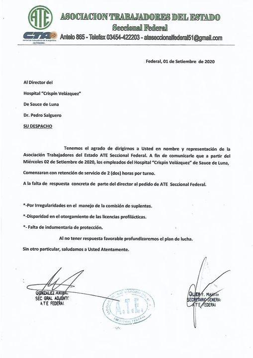 La Seccional de Ate Federal confirmó la retención de servicios en el Hospital de Sauce de Luna