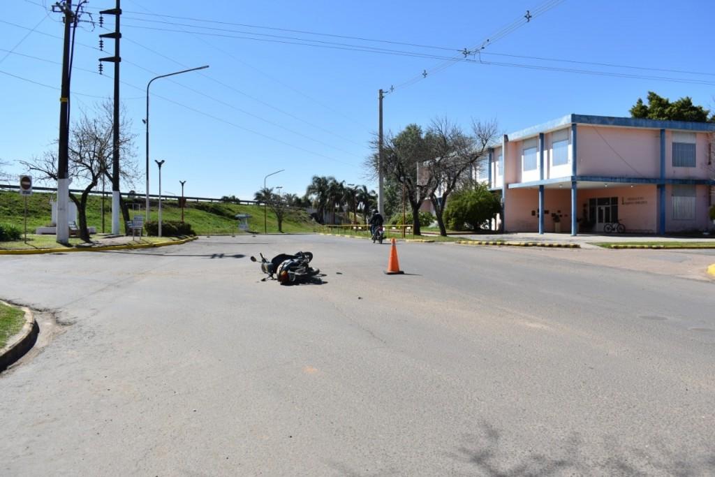 Siniestro vial en calle 25 de Mayo y Belgrano