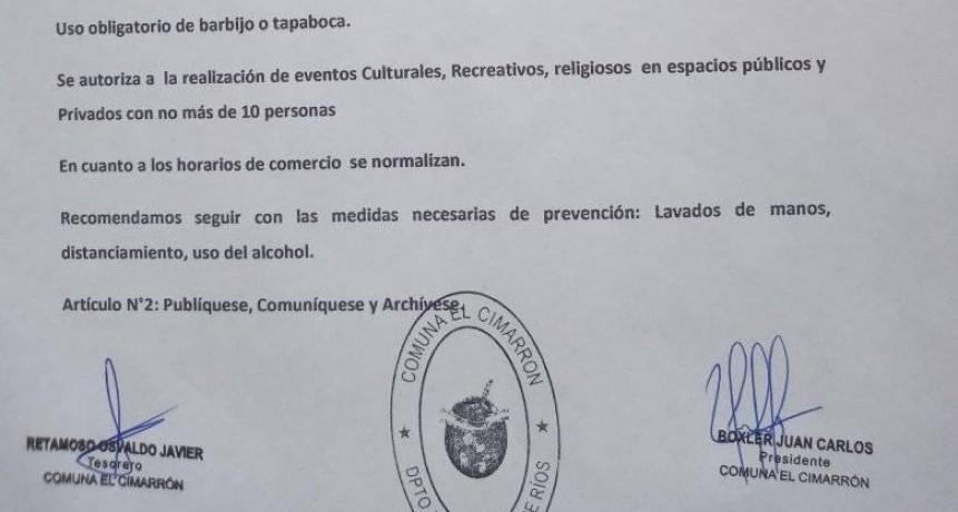 Nuevas autorizaciones en la Comuna El Cimarrón