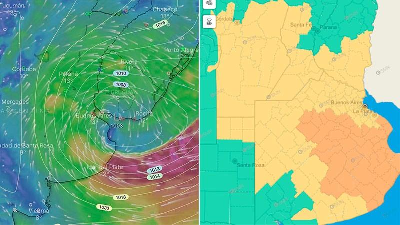 Alerta por fuertes vientos y lluvias para zona de Entre Ríos y otras provincias