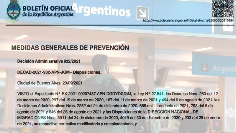 Oficializaron la excepción de cuarentena para viajeros: los requisitos