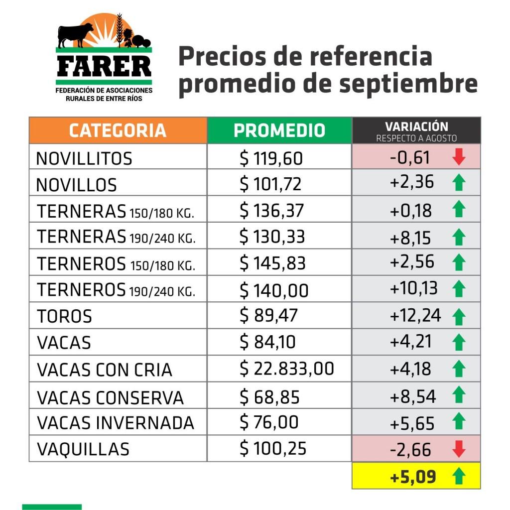 ENTRE RÍOS: EN SEPTIEMBRE, LA HACIENDA EN PIE SUBIÓ UN 5,09 %
