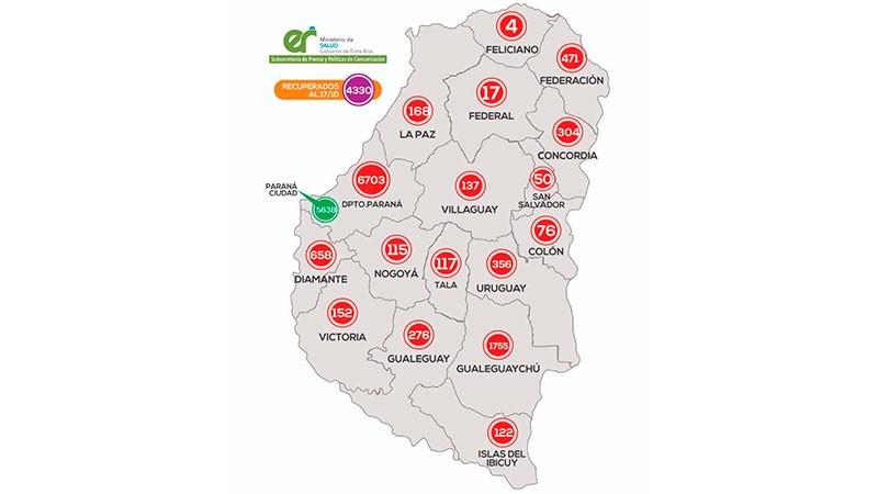 Reportaron 295 casos de coronavirus este domingo en Entre Ríos