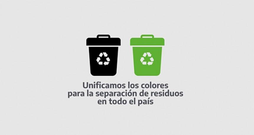 Se unificarán los colores para la separación de residuos domiciliarios