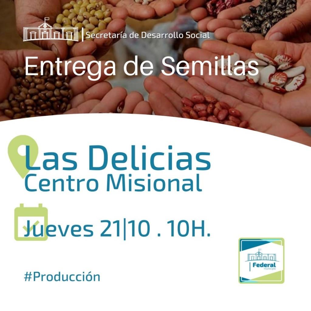 Entrega de semillas en el centro misional de Las Delicias