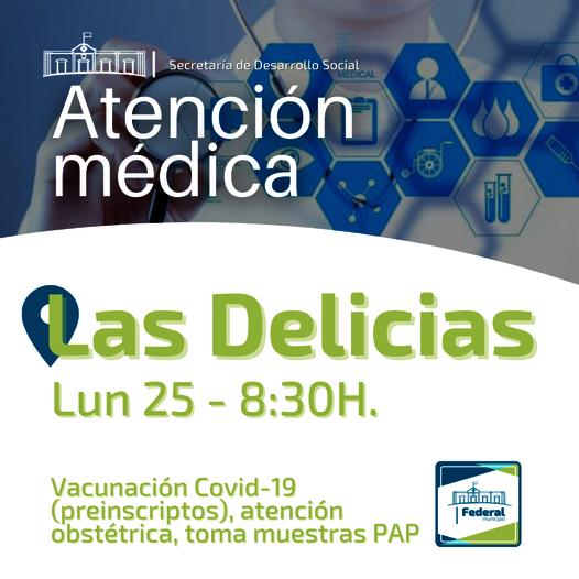 Este lunes atención  medica en el Centro de Salud de Las Delicias