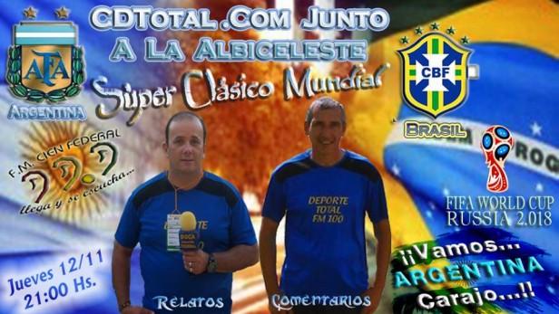 FmCienFederal en el Monumental para relatar Argentina - Brasil