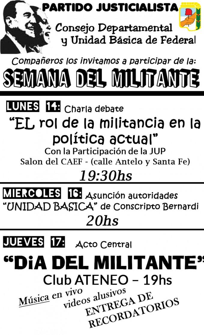 Semana del Militante y el peronismo se organiza con actos y actividades