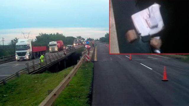 Grave accidente en Ruta 12: Camión chocó la baranda de un puente y cayó al agua