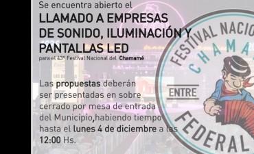 Festival del Chamame : Convocatoria a empresas de sonido , iluminación y pantallas led