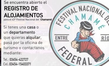 Se encuentra abierto el registro de alojamientos para el 43º Festival Nacional del Chamamé.