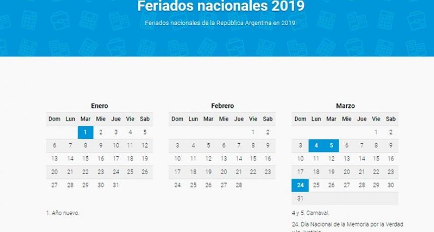 Los feriados para 2019: Menos fines de semanas largos para el sector privado
