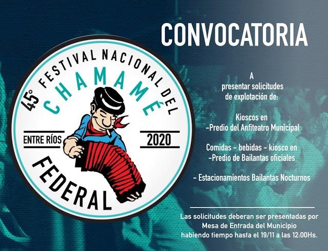 Convocatoria para la explotación de servicios Festival Nacional del Chamame