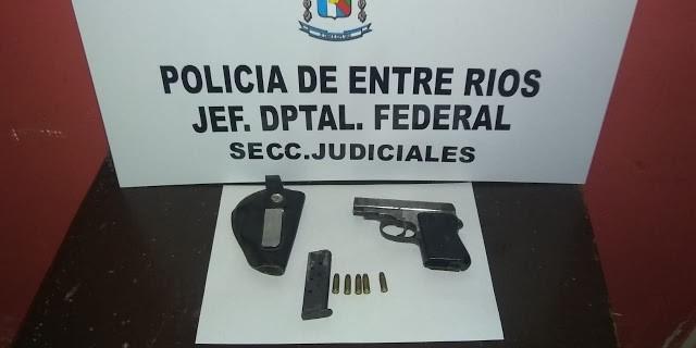 Secuestran arma de fuego tipo pistola