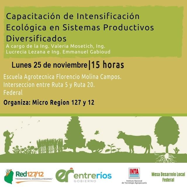 Capacitación de Intensificación Ecológica en Sistemas Productivos Diversificados en la Escuela Agrotecnica