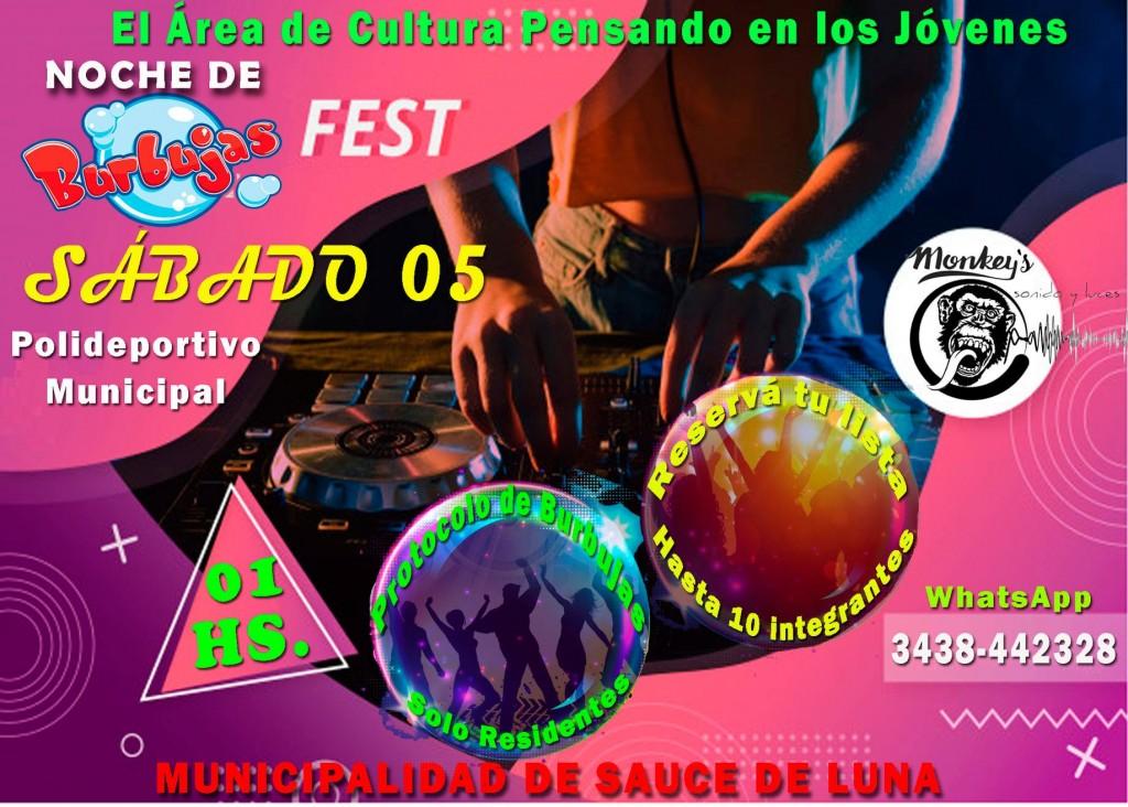 """EL ÁREA DE CULTURA ORGANIZA PARA ESTE SÁBADO 05 DE DICIEMBRE LA """"BURBUJA FEST"""""""