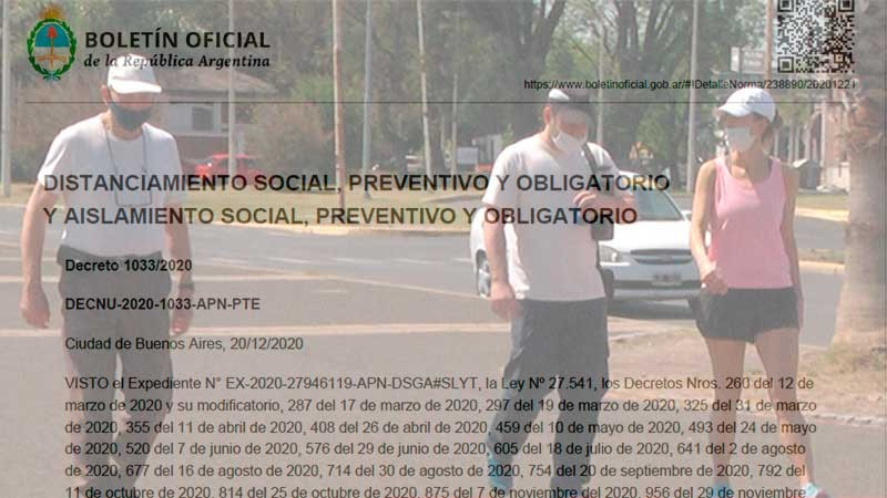 Se oficializó el Distanciamiento Social hasta el 31 de enero de 2021: el decreto