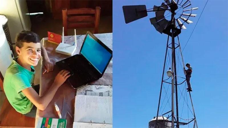 Ya tiene internet Gualterio, el niño que subía al molino para enviar las tareas